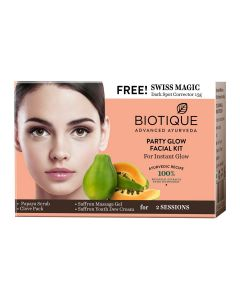 Biotique Party Glow Facial Kit For Instant Glow With Swiss Magic Dark Spot Corrector-5x10g+15g