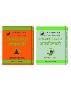 Dr. Vaidya's Acidity-Hypertension-Anxiety Pack Unmadvati- 72 Pills and Amlapittavati - 72 Pills