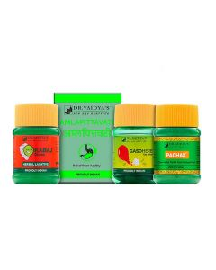 Dr. Vaidya's-Digestion Pack Pachak Churna - 100gm, Amlapittavati-72 Pills, Gasoherb- 30Pills and Kabaj Churna - 50gm