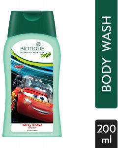 Biotique Berry Shake Body Wash For Disney Kids, Green Transparent-180ml
