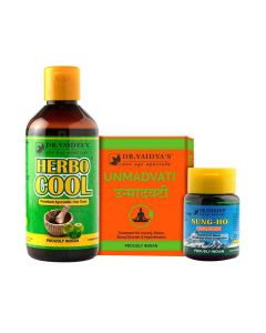 Dr. Vaidya's - No Stress Pack Unmadvati-72 Pills, Sung-Ho-10gm and Herbocool-200ml