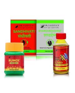 Dr. Vaidya's - No Pain Pack Nirgundi-100ml,  Rumox-50gm, Sandhivati-72 Pills and Shardardaghna-72 Pills