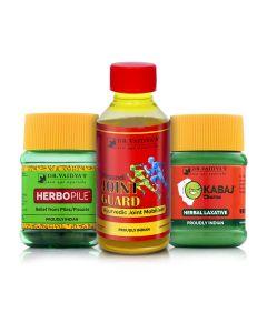 Dr Vaidya's - Piles Pack Herbopile-30 PillsX3,Kabaj Pills-30 PillsX1, Nirgundi Oil-100mlX1