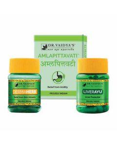 Dr. Vaidya's Ayurvedic Skin allergy Pack Dermaherb-30 PillsX2, Amlapittavati-24 PillsX2, LivAyu-30 Pills X1