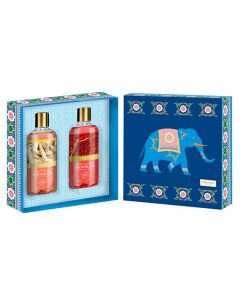 Vaadi Herbals Royal India Shower Gels Gift Box - Luxurious Saffron 300 ml & Divine Honey & Sandal 300 ml (Royal Elephant)-(300 ml x 2)