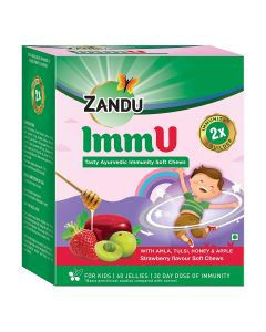 Zandu ImmU Tasty Ayurvedic Immunity Soft Chews, Strawberry Flavour - 60 Soft Chews (Jellies)
